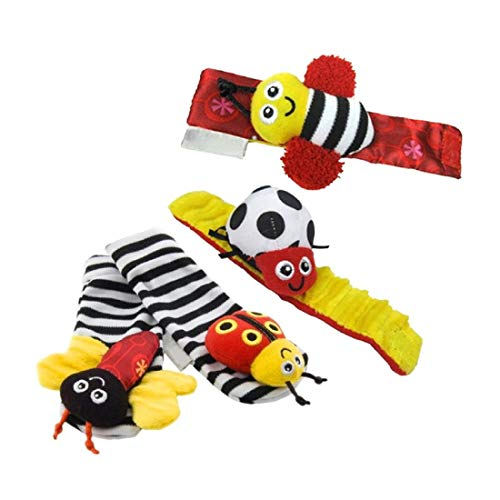 (BBS Baby Wrist Rattle Baby Socks, Animal Toys Set Soft Animal Toy Suitable for Kids)