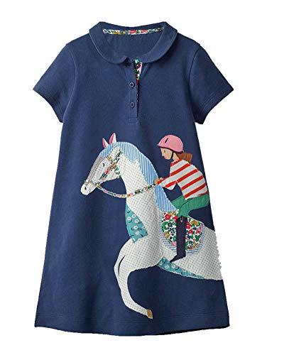 HILEELANG Toddler Girl Casual Active Short Sleeve Casual Cotton Applique Tunic Shirt Dress with Collar