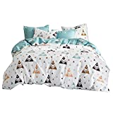 Uozzi Bedding Triangle & Deer Pattern Cotton White Duvet Cover Set Reversible Print- Boys,Teen, Girls, Adult- Premium 3PC Hypoallergenic Colorful Bedding Set -Cute Soft Hotel Luxury (Triangle, Queen)