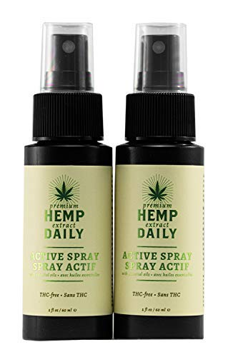 Hemp Daily Active Spray | Hemp Spray with Essential Oils | Vegan, Organic Ingredients, Calming, Use for Muscle Pain and Anxiety Relief | 2 Fluid Ounces, 2 Pack by Hemp Daily