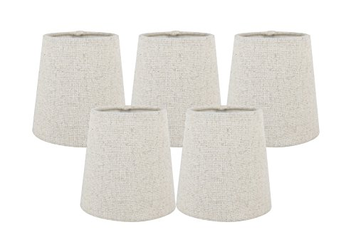 Meriville Set of 5 Natural Linen Clip On Chandelier Lamp Shades, 3.5-inch by 4.5-inch by 4.5-inch ()