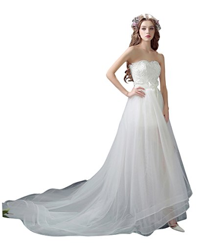 Beauty-Emily Maxi A-Line Open-Side Chapel Train Strapless Sleeveless Tulle Bowknot Performance Wedding Gown Color White,Size US14
