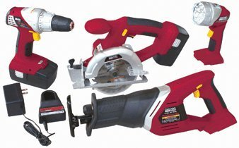 Chicago Electric Power Tools Chicago Electric 18 Volt Cordless 4 Tool Combo Pack