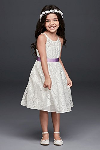 - Illusion Lace Tie-Back Halter Flower Girl/Communion Dress Style OP237, Soft White, 8