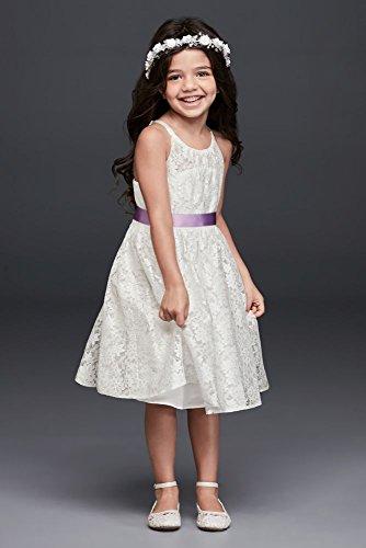 Illusion Lace Tie-Back Halter Flower Girl/Communion Dress Style OP237, Soft White, 7