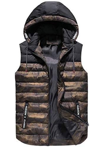 TTYLLMAO Men's Puffer Camouflage Hooded Vest Outerwear Quilted Sleeveless Jacket Army Green
