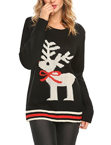 Unibelle Women's Ugly Christmas Sweater Vintage Cute Reindeer Sweater Pullover, Black, (Cute Ugly Sweater)