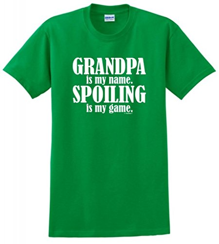 Grandpa is My Name Spoiling is My Game T-Shirt Large Green