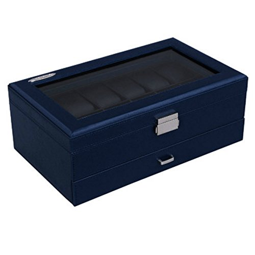 Blue Stylish Leather Watch & Jewelry Organizer Glass Display Storage Case Box - Perfect Gift for - Oriental Case Display