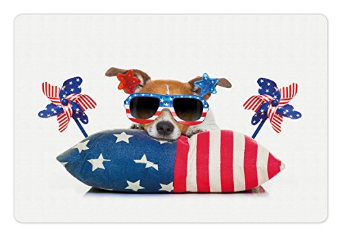 4th of July Pet Mats for Food and Water by Lunarable, Jack Russell Celebrating Independence on an Old Glory Pillow with Sunglasses, Rectangle Non-Slip Rubber Mat for Dogs and Cats, - Sunglasses Glory