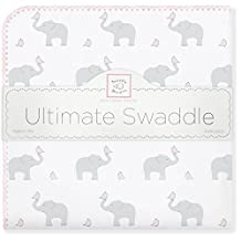 SwaddleDesigns Ultimate Receiving Blanket, Elephant & Chickies, Blushing Rose