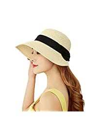 Jiuhexu Women Sun Hat Straw Beach Braided Summer Sunshade Straw hat