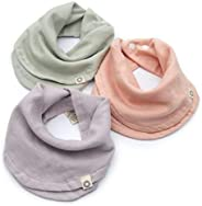 Indi by Kishu Baby - Infinity Scarf Bibs - Organic Drool Bib for Girls or Boys with Snaps - 100% Organic Cotton Muslin - 3 Lu