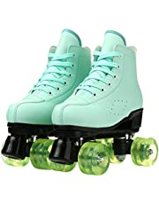 LEAFIS Women's Roller Skates Classic Leather High Top Double Row Skates Four-Wheel Shiny Roller Skates Perfect Indoor Outdoor Adult Roller Skates with Bag