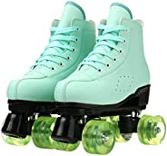 XUDREZ Roller Skates Candy Color PU Leather Shoes Double-Row Design Latest Version Flashing Pattern Roller Ska