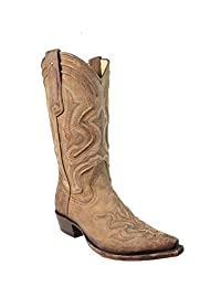Corral Boot Men's Distressed Leather Embroidery Cowboy Heels Snip Toe Brown Western Boot