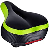 TONBUX Most Comfortable Bicycle Seat, Bike Seat Replacement with Bicycle Taillight Reflective Tape Dual Shock Absorbing Ball Wide Bike Seat Saddle Bicycle Gel Seat with Mounting Wrench