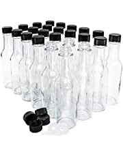 (Pack of 24) 5 oz. Clear Glass Hot Sauce Bottle (woozy) with Black Cap and Orifice Reducer
