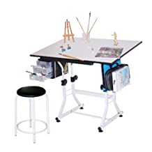 Martin U-DS92ST Ashley Art-Hobby Table with Stool, White Top, 23-1/2-Inch by 35-1/2-Inch Size Surface