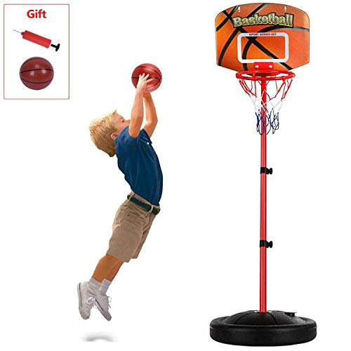 ShaggyDogz Portable Basketball Hoop Outdoor for Kids, Adjustable Height 2.5 ft -6.2 ft Mini Indoor Basketball Goal Toy with Ball Pump for Boys Girls Outdoor Play Sport (Toy Basketball-3)