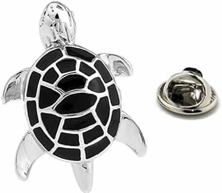 7cb59575f03b Williams and Clark Enamel pin Tropical Sea Turtle Lapel Pin 3D Ocean Black  Silver Tone Tie