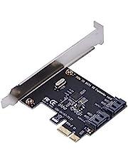 Fosa PCI-E 2.0 6Gbps Cards SATA 3.0 2-Port PCI-E Exppansion Adapter Board Support Windows (R) XP / Server2003 / Vista / 7/8 (32 / 64bit) / Mac/Linux