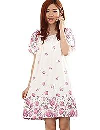Tufu Women's Printed Round Neck Short Sleeve Nightdress Nightshirt PJ