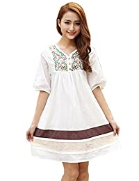Kafeimali Women's Dressy Tops Blouse Cotton Dress Mexican Embroidered Peasant
