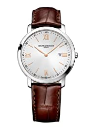 Baume et Mercier Classima Silver Dial Brown Leather Strap Mens Watch 10131