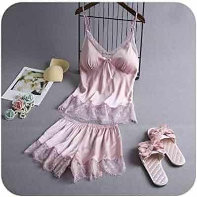 eda290958b Ladies  Pyjamas Summer 2019 Silk Pajamas Set Cami and Shorts with Lace Trim Sexy  Lingerie