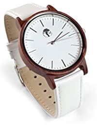 Men's Wood Watch, Natural Red Sandalwood with Genuine...
