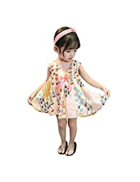 DKmagic Toddler Baby Girls Sleeveless Floral Leaf Print Bow Dresses Casual Clothes