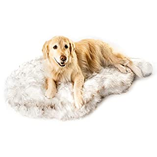 Treat A Dog Puprug Faux Fur Memory Foam Orthopedic Bed, Premium Memory Foam Base, Ultra-Soft Faux Fur Cover, Modern and Attractive Design (Small/Medium, Curve White)