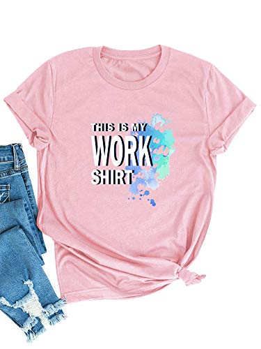 OUNAR Damen This is My Work Shirt Sommer Tee Briefdruck Lässiges Tee Kurzarm T-Shirt Baggy Top Lose Oberteil