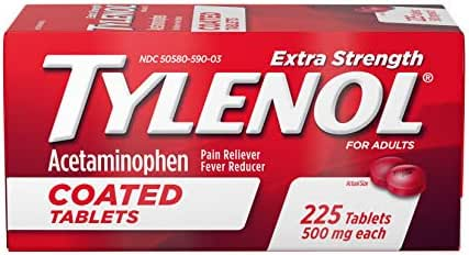 Tylenol Extra Strength Coated Tablets, Acetaminophen Adult Pain Relief & Fever Reducer, 225 ct