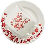1 Conjunto com 6 Xícaras de Chá Reta com Pires 14 Cm Biona Donna Jardim Oriental Vermelho/Marfim 200 Ml