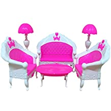 Lanlan 6PCS Pink Mini Living Room Sofa Furniture Sets Toy For Barbie Dolls Dream House Furniture Accessories Kids Birthday Christmas Gift