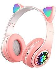 xiaomin Barnhörlurar kattöron för pojkar och flickor, vikbara trådlösa hörlurar med Bluetooth och LED-ljus, kattöron headset