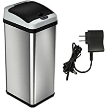 iTouchless Deodorizer Automatic Sensor Touchless Stainless Steel Trash Can (Limited Platinum Edition With AC Adapter)