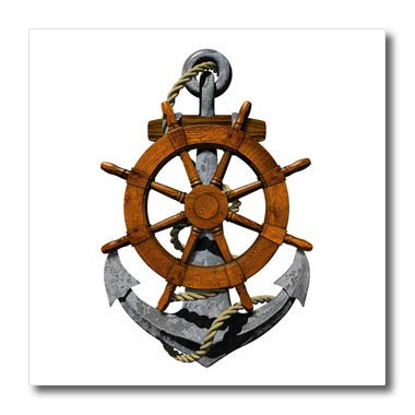 3dRose Macdonald Creative Studios - Nautical - A Classic Nautical Ship Anchor and Helm for Any Boater or Sailor. - 10x10 Iron on Heat Transfer for White Material (ht_291838_3)