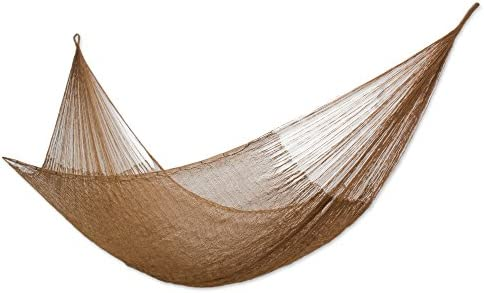 NOVICA Metallic Copper Brown Nylon Hand Woven Mayan Rope 2 Person XL Hammock