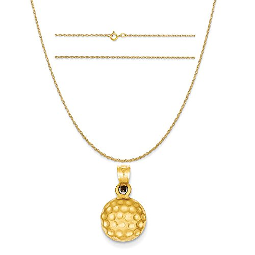 14k Gold Golf (14k Yellow Gold Golf Ball Charm on a 14K Yellow Gold Carded Rope Chain Necklace, 16