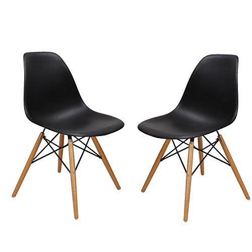 Asense Eames Mid Century Modern Minimalistic Clean Line Dining Chair Side Chair A Set of Two Armless Wood Leg, Black