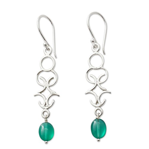 NOVICA .925 Sterling Silver and Dyed Green Onyx Dangle Earrings, 'Forest (Sterling Silver Dyed Green)