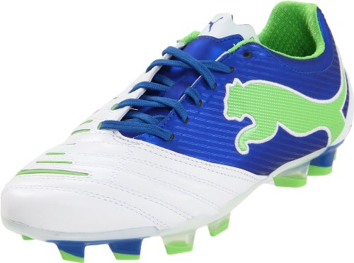 (Puma Women's Powercat 2.12 FG Winners Soccer Shoe,White/Puma Royal/Green Flash,6 B US)