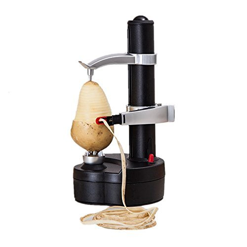 - SUPOW Go Rapid Peeler, Potato Peeler Electric Auto Rotating Apple Vegetable Fruit Peeler Potato Peeling Machine Automatic Stainless Steel Peeler (Black)