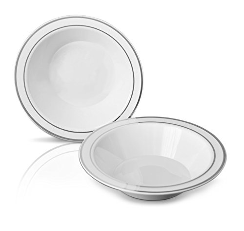 OCCASIONS 40 PACK, Heavyweight Disposable Wedding Party Plastic bowls (14oz Soup Bowl, White/Silver Rim)