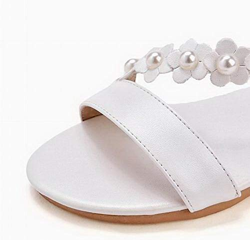 Couleur à Sandales Unie TSFLG007736 Boucle Femme Blanc Talon AalarDom Bas xqIBP50wn
