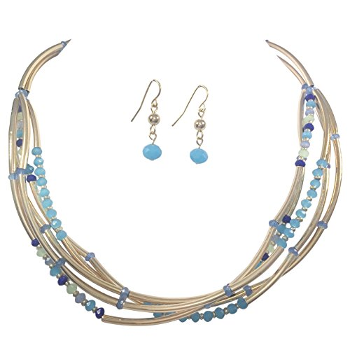 Layered Glass & Curved Tube Beads Gold Tone Necklace and Earrings Set (Blue Tones) -