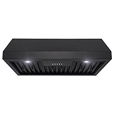 FIREBIRD 30 in. Under Cabinet Range Hood in Black Painted Stainless Steel with LEDs and Electronic Push Buttons